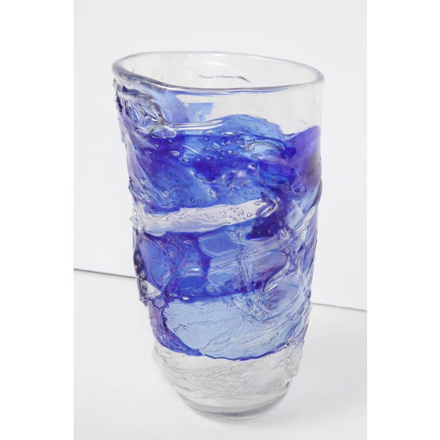 Blue Murano Glass Vase For Sale - Image 8 of 11