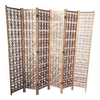 1950's Teak Geometric Screen / Room Divider For Sale