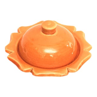 Hand Painted Orange Moroccan Ceramic Serving Dish For Sale
