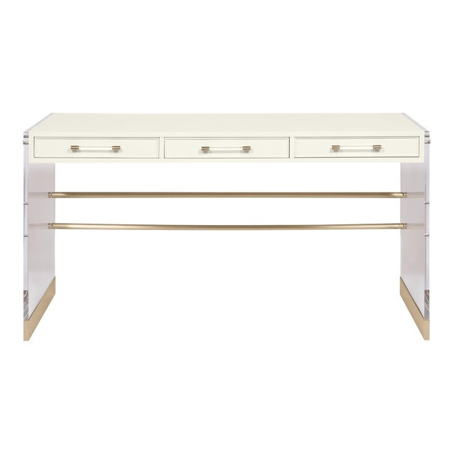 Casa Cosima Arden Desk with Taper Leg Base, Cloud White For Sale