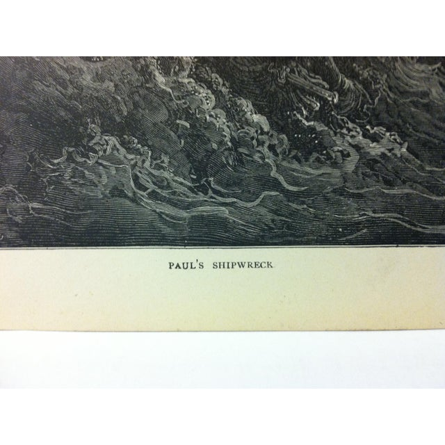 """Abstract Expressionism Antique Gustave Dore' Illustrated Print on Paper """"Paul's Shipwreck"""" 1901 For Sale - Image 3 of 4"""