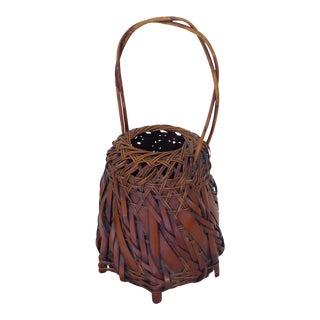 Vintage Japanese Sienna Brown Bamboo Ikebana Basket For Sale