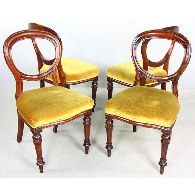 1970s Vintage Mahogany Yellow Velvet Louis XVI Victorian Side or Dining Chairs- Set of 4 For Sale - Image 6 of 7
