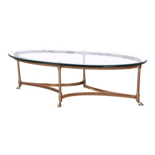 Labarge Mid-Century Hollywood Regency Brass and Glass Hooved Feet Cocktail Table For Sale