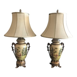 Vintage John Richard Lamps With Shades - a Pair For Sale