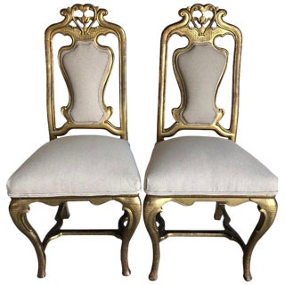 Late 19th Century French Giltwood Chairs- A Pair For Sale