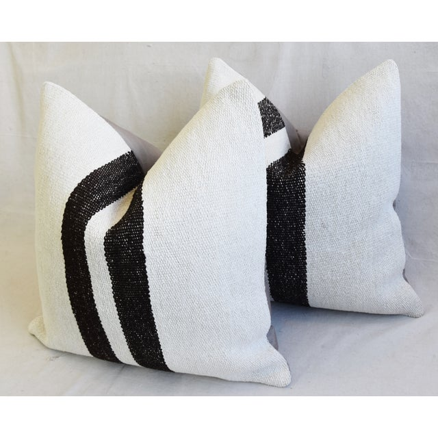 "Organic Hemp & Cotton Turkish Kilim Feather/Down Pillows 23"" Square - Pair For Sale - Image 9 of 13"