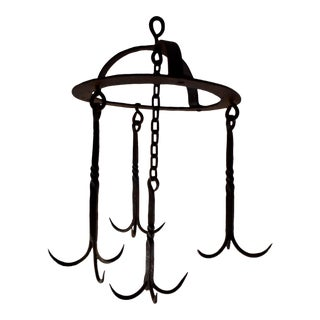 Early 19th C. French Wrought Iron Hanging Butchers Rack For Sale