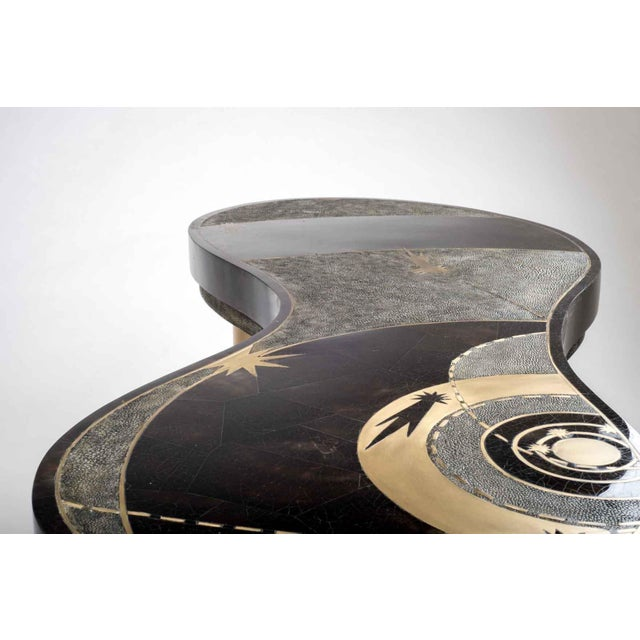 Not Yet Made - Made To Order Constellation Coffee Table in Black Shagreen, Shell and Brass by Kifu Paris For Sale - Image 5 of 6