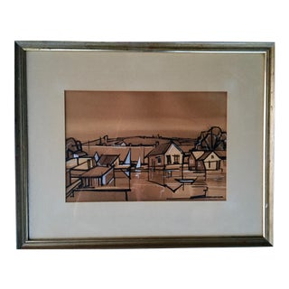 Vintage 1946 Watercolor Painting by Andre Smith For Sale