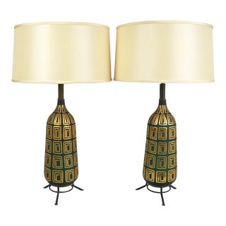 Mid-Century Gilded Glass Lamps - A Pair For Sale