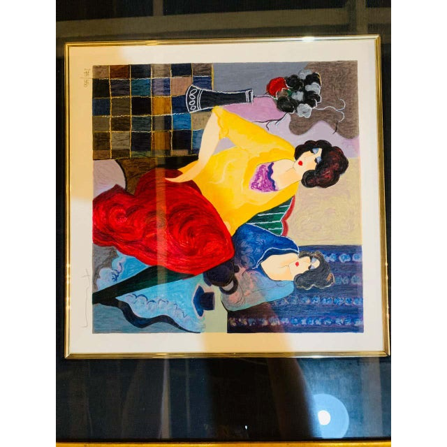 """Itzchak Tarkay Stereograph in Matted Gilt Frame """"Enchanted Moments"""" For Sale In New York - Image 6 of 11"""