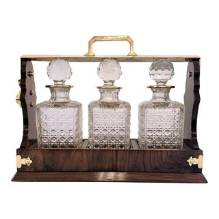 Antique English Brass and Walnut Three Bottle Tantalus. For Sale