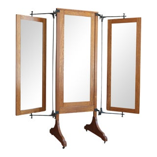 Antique Oak Tri-Fold Dressing Mirror For Sale