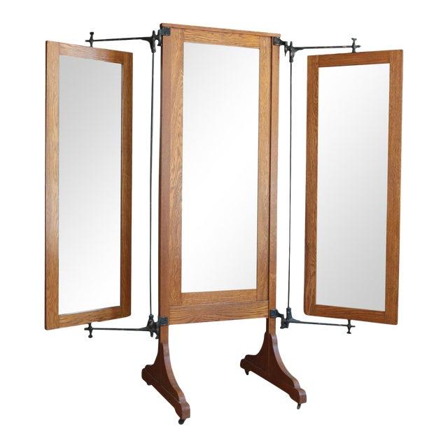 superior antique oak tri fold dressing mirror decaso. Black Bedroom Furniture Sets. Home Design Ideas