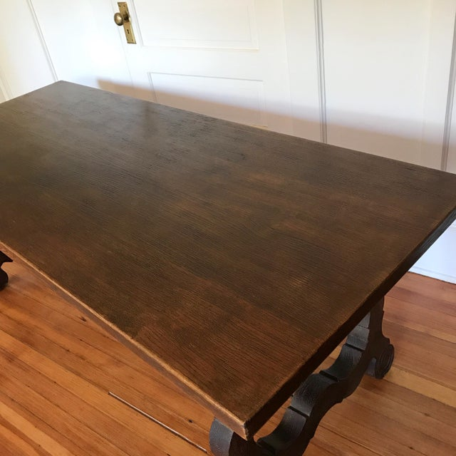 Late 19th Century 19th Century Spanish Trestle Farm Table For Sale - Image 5 of 8