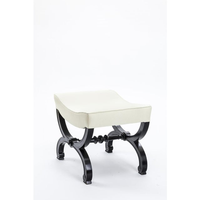 Mid-Century Modern Maison Jansen Refined Black Lacquered Carved Wood Stool For Sale - Image 3 of 5