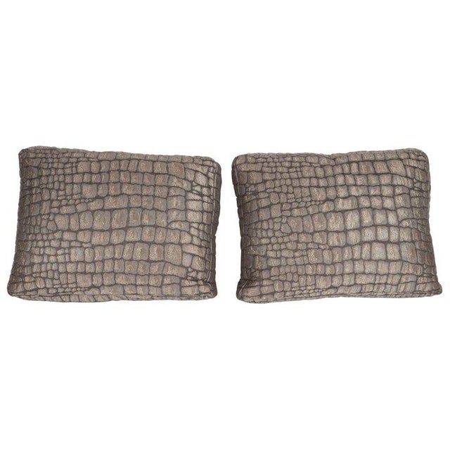 Gold Pair of Gauffraged Crocodile Fabric Pillows in Metallic Antique Bronze Hue For Sale - Image 8 of 8