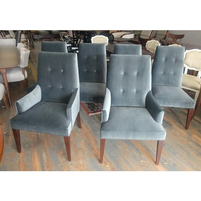 Mid-Century Modern Mid-Century Modern Henredon Furniture Barbara Barry Slate Grey Velvet Dining Chairs - Set of 6 For Sale - Image 3 of 12