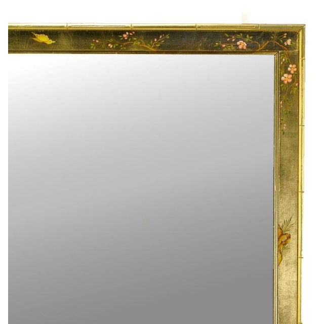 """50"""" LaBarge Hand Painted & Gilt Beveled Wall Mirror For Sale In Chicago - Image 6 of 6"""