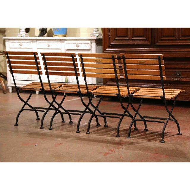 Painted Wrought Iron and Teak Wood Folding Garden Chairs, Set of Four For Sale - Image 12 of 13