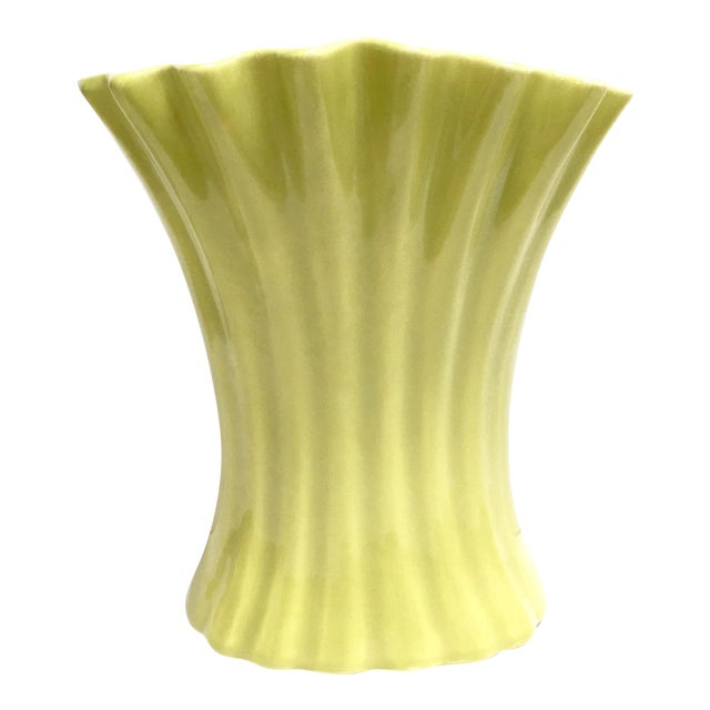 Large Chartreuse Vintage Pottery Vase By Bauer Usa Chairish