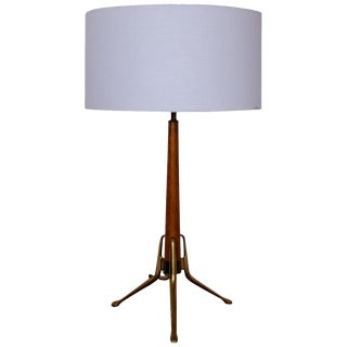 Brass and Walnut Tripod Table Lamp by Gerald Thurston for Lightolier, 1950s For Sale
