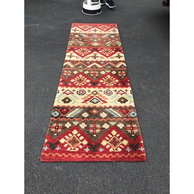 Contemporary Aztec Inspired Runner Rug - 2′8″ × 7′2″ For Sale - Image 3 of 6