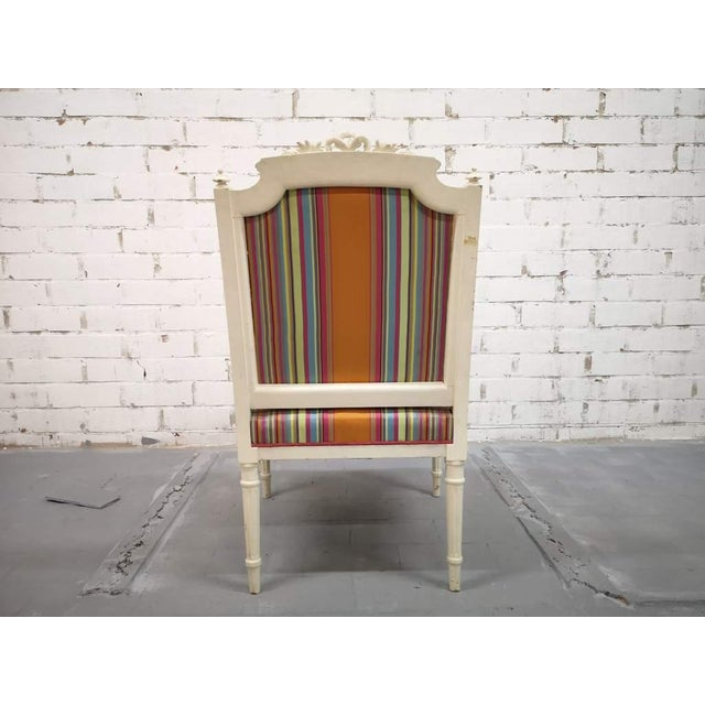 Vintage French Reupholstered Louis XVI Style Shabby Chic White Armchair For Sale - Image 10 of 12