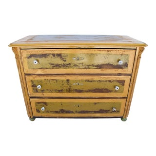19th-C. Carved Mustard Yellow/Gold & Green Painted Dresser