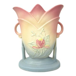 Hull Art Pottery Magnolia Matte Double Handles Usa Vintage Pastel Vase For Sale