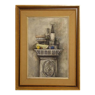 """1957 David Adickes """"Still Life for Ann Holmes"""" Grey and Neutral Toned Impressionist Painting, Framed For Sale"""