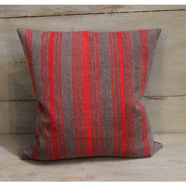 Traditional Pair of Late 19th Century Brown and Red Striped Pillows For Sale - Image 3 of 5