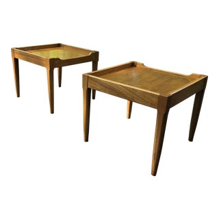 Mid-Century Tomlinson Walnut Side Tables - a Pair For Sale