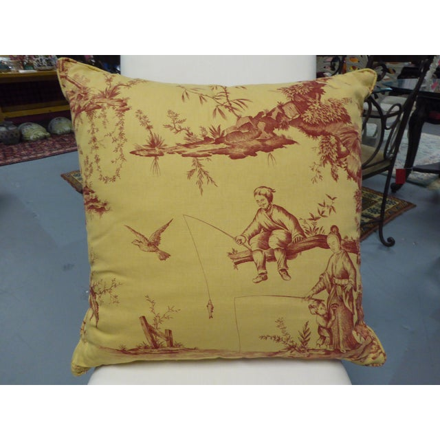 Large Pillow with Fishing Scene Details - Image 3 of 4