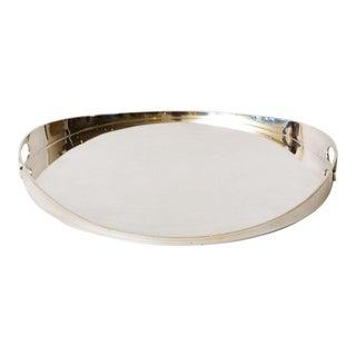 Vintage Silver-Plate Circular Tray Barware For Sale