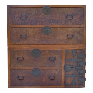 Antique Japanese Two-Section Burl Kasane Tansu For Sale