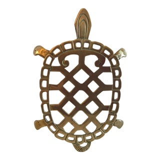 Vintage Turtle Shaped Brass Trivet For Sale