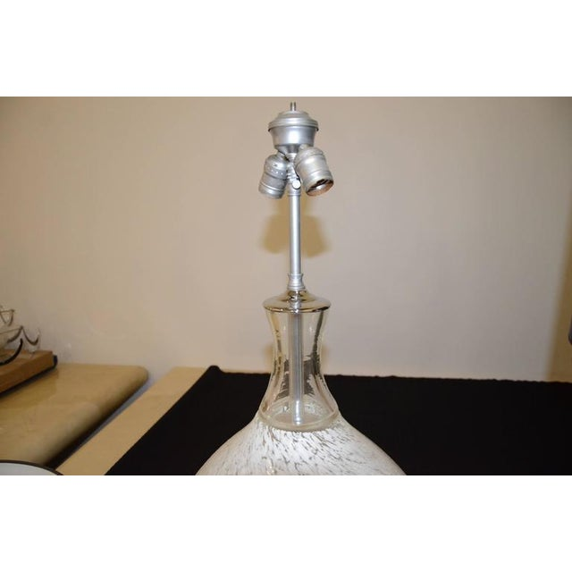 Pair of Mid Century Modern Vistosi White Murano Glass & Chrome Table Lamps with Lucite bases - Image 6 of 7