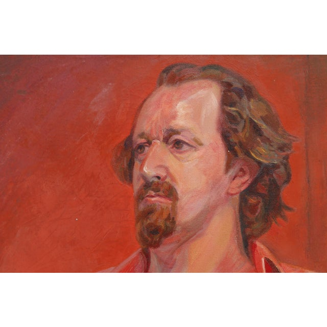 A striking oil on canvas portrait of Tony Folger by Phyllis Coombs Larimore, dated 1972. Folger sits facing left in a bold...