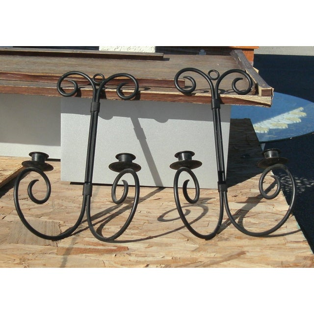 Late 20th Century Late 20th Century Chandelier Wrought Iron Wall Sconce Candle Holders - a Pair For Sale - Image 5 of 7