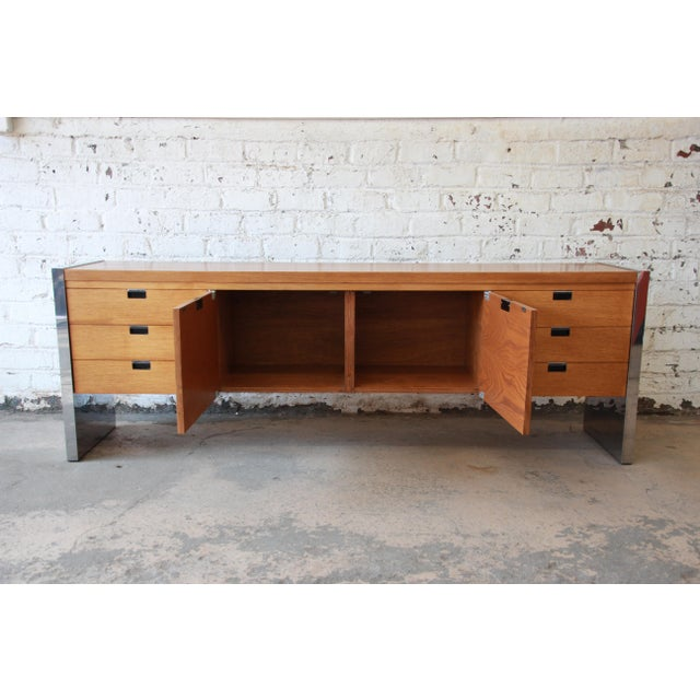 Roger Sprunger for Dunbar Mahogany and Chrome Executive Credenza For Sale - Image 9 of 11
