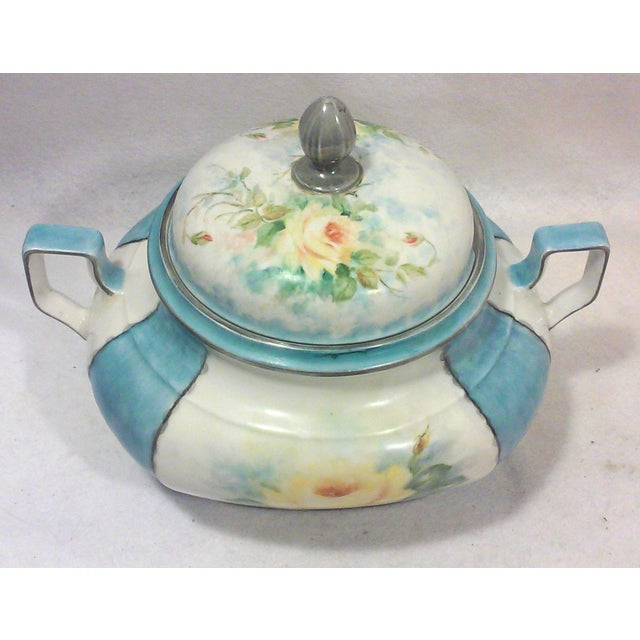 Art Deco hand painted Bavarian porcelain soup tureen is a stunning hand crafted piece of fine porcelain from Bavaria with...