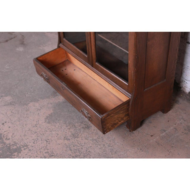Brown Antique Carved Oak Glass Front Locking Bookcase For Sale - Image 8 of 13