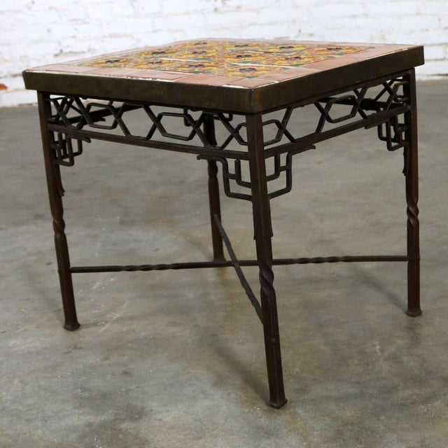 Art Deco Art Deco Wrought Iron and Tile Side Table California Style Tiles For Sale - Image 3 of 11