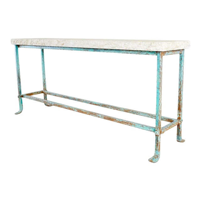 Patinated Iron and Stone Garden Console Table For Sale