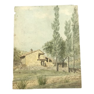 1896 and 1894 French Two Sided Sketch Book Landscape Watercolor Paintings by Unknown Artist For Sale