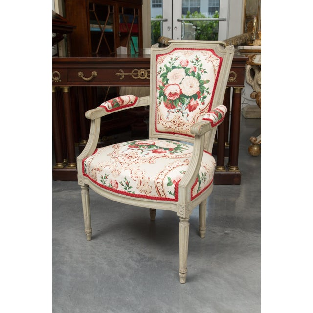Wood Louis XVI Style Painted Armchairs - a Pair For Sale - Image 7 of 13
