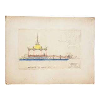 "San Francisco Bay Exposition Architect's Original Preliminary Design ""Lagoon Bandstand"" C.1938 For Sale"