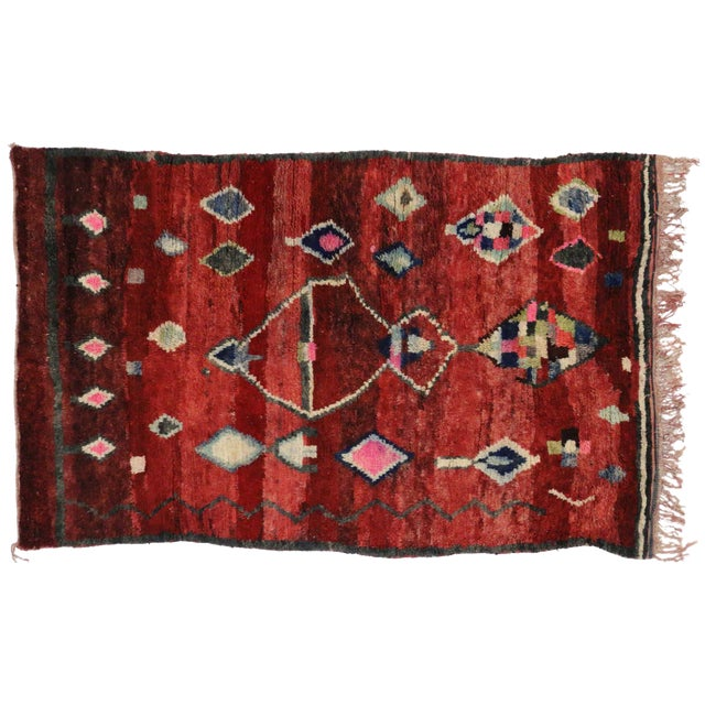 Boho Chic Berber Moroccan Rug, 5'1x8' For Sale